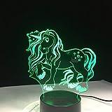 PDDXBB 7 Nette Einhorn 3D USB Bunte Illusion Büroraum Reinigung Lampe Led-Lampe Nachtbeleuchtung Kindertisch Sieben Farbe 87 * 87 * 43Mm (Rissgrund USB + Batterie)