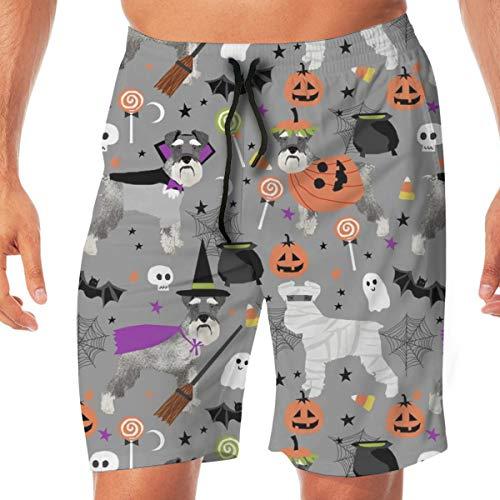 DDOBY Schnauzer Dog Stoff Halloween Spooky Dog Kostüme Fabric - Grey_689 Männer Badehose Surf Beach Holiday Party Badehose Strandhosen M