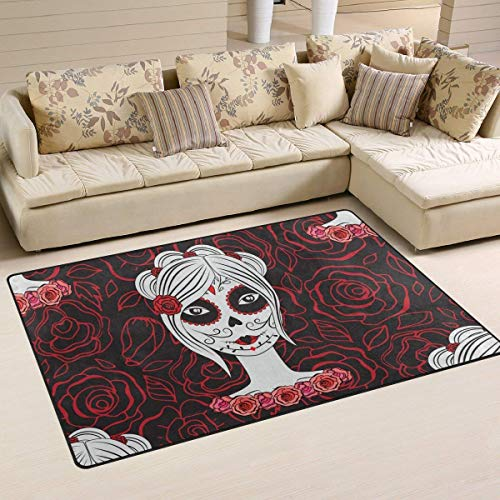Bixungan Girl with Make Up for Day of Dead Area Rug Rugs Non-Slip Indoor Outdoor Floor Mat Doormats for Home Decor Size:16 X 24(40x60cm) ()