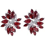 Yazilind Dazzling Silver Plated Flower White Cubic Zirconia CZ Flawless Stud Post Earrings