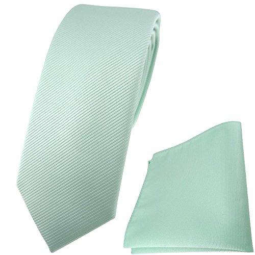 TigerTie schmale Designer Krawatte Einstecktuch in mint grün einfarbig Uni Rips (Und Mint-krawatte Einstecktuch)