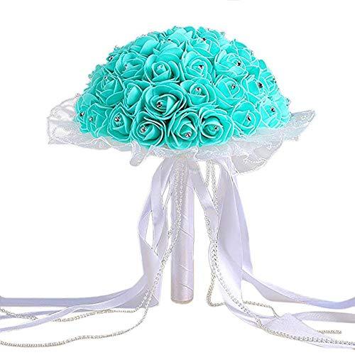Scrox. 1 Stück Kunstblumen, Rosen, Kristallperlen, Brautjungfern, Hochzeit, Blumenstrauß aus Kunstseide (Türkis), Schaumstoff, grün, 26 * 21CM (Türkis-blumenstrauß)