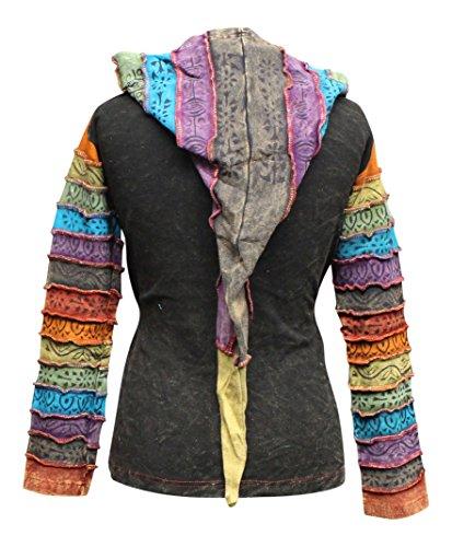 Säure wäsche mehrfarbig patchwork kapuzenpulli, rainbow gestreift ärmel hippy jacke,boho Mehrfarbig - Limettengrün