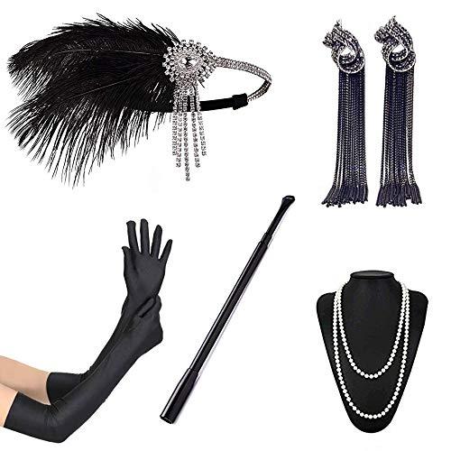 Tobao 1920s accessori flapper anni '20 set orecchini collana fascia guanti porta sigarette estensibile set flapper per festa ballo