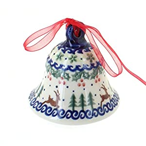 Blue Rose Polish Pottery Reindeer Delight Medium Bell