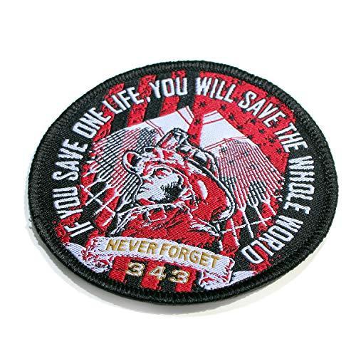 9/11 NEVER FORGET 343 FIREFIGHTER - Web-Emblem / 5cm