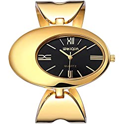 Weiqin® Gold Womens Quartz Bracelet Watches with Hollow Bracelet #269701