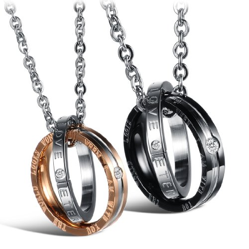 Queender 2 Piece Necklace for Couples Stainless Steel Ring Pendant Gold Black Silver