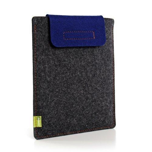 Almwild iPad Mini Hülle. Smart Cover geeignet! In Schiefergrau mit Verschluß - Lasche in Blau. Case Tasche Schutzhuelle für alle Apple iPad Mini / Mini 2, Mini 4 mit Smart Cover
