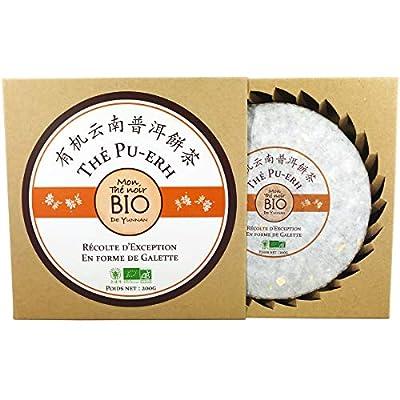 *** BIO *** Galette de Thé Noir Pu-Erh Bio de Yunnan 200 Gr - Récolte d'exception - Certifié AB par Ecocert France - PUERHBIO