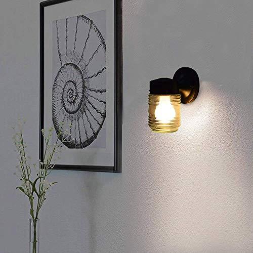 CCLAY 1 leichte Wandleuchte für den Innen- und Außenbereich mit klarem Rippenglas, Wandleuchte für die Wandmontage, Glasveranda-Down-Leuchte Mattschwarz,Black - Licht-jelly Jar