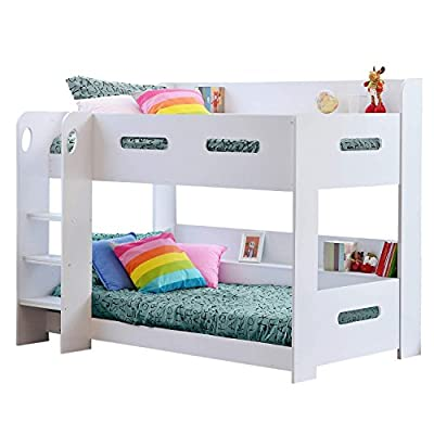 White Kids Bunk Bed - Ladder Can Be Fitted Either Side!+ Storage Shelves produced by Sky Furniture - quick delivery from UK.