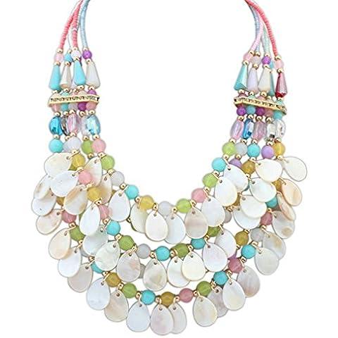 Aooaz Collane donna Boemia Collane statement Vintage Lungo Collane girocollo Strand Fringe Perline Coloreful