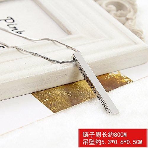 BAOZIV587 Einfache Schmuck Halskette europäischen und amerikanischen Frauen lange Anhänger Zubehör Anhänger Tag wilde Schlüsselbein Kette Pullover Kette, Englisch Streifen
