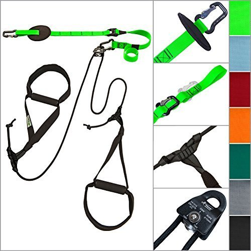 eaglefit® Sling Trainer ALLROUND; Schlingentrainer mit Umlenkrolle, Türanker, Aluminium-Karabiner, schwarz