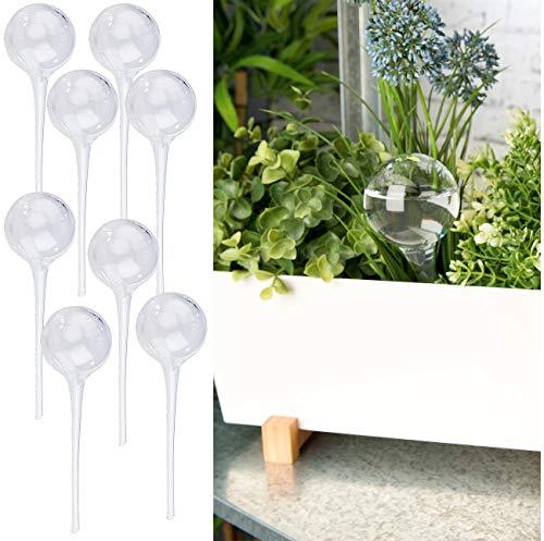Royal Gardineer Blumen-Bewässerung: 8er-Set Gießfrei-Bewässerungs-Kugeln aus Glas, transparent, Ø 6 cm (Bewässerungskugel für Pflanzen)