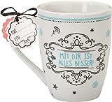 Sheepworld 59259 LieblingstasseMit dir ist alles besser, Porzellan-Tasse, mit Geschenk-Anhänger