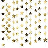 10 Pezzi 130 Piedi Glitter Dorato Stelle Ghirlanda di Carta Decorazione da Appendere per Matrimonio Compleanno Festival Natale, Ogni Ghirlanda di Carta Stella di 13 Piedi
