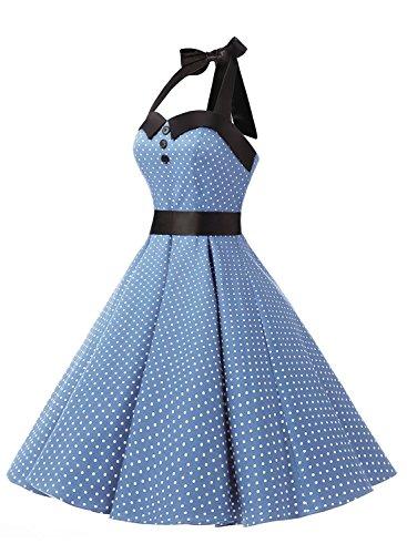 Dressystar Robe de bal Polka Vintage pin-up à 'Audrey Hepburn' 50's 60's Rockabilly Halter,dos nu, à pois/fleur/unicolore Bleu clair