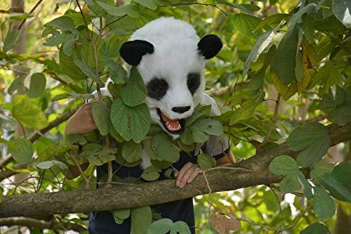 Realistische Tiermaske Simulation Tier Panda Maske Moving Mouth Maske for Halloween Karneval festliche Party Supplies (Color : (Panda Kostüm Kopf Nur)