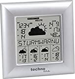Technoline WD 9000 Wetterdirekt - Wetterstation mit Sturmwarnung, Innen- und Außentemperautanzeige, zuverlässige Wettervorhersage für 5 Tage, silber, 2,1 x 12,9 x 3,8 cm