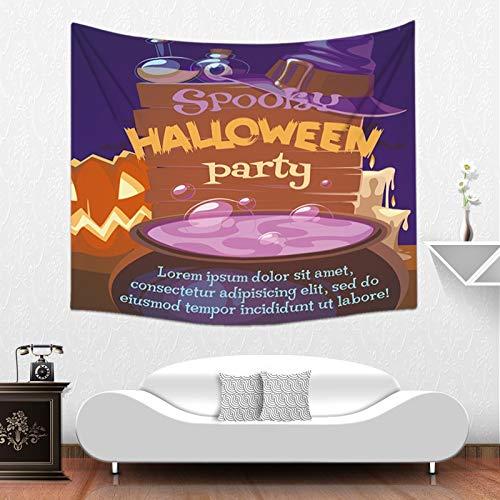 (Qishi Halloween Szenerie Reinigungstuch Tagesdecke Tischdecke Schals Digital Print Kürbis Hexe Ghost Innen Wand aufhängen Hintergrund Dekoratives Gemälde 150× 130cm, B)