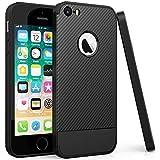 Peakally iPhone SE/5S/5 Hülle, Kohlefaser Textur Ultra Dünn Weich Handyhülle [Anti-Fingerabdruck] [Kratzfest] TPU Schutzhülle Carbon Fiber Case Hüllen für iPhone SE/5S/5 4.0