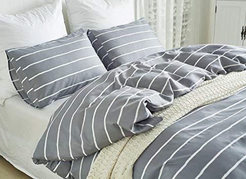 Lanqinglv Grau Bettwäsche 155x200 Reißverschluss Weiß Gestreift Bettwäsche 2teilig Weiss Streifen Bettbezug Deckenbezug Bügelfreie mit Kissenbezüge 80x80 (WS,155x200)
