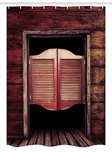Nyngei Western Duschvorhang Duschkabine Alte Rustikale Holztür und Wild West Cowboy Antike Bar Salon Tür Bild Stoff Badezimmer Dekor Set mit180x Kastanienbraun und Braun