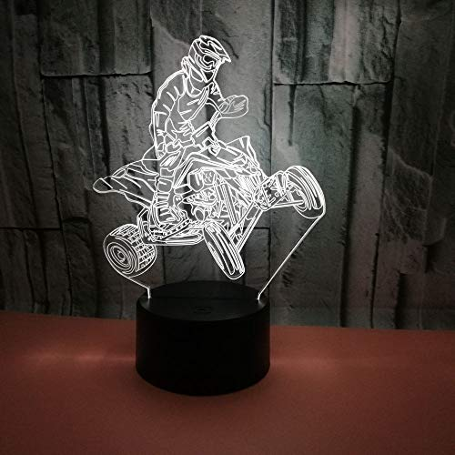 Race Acrylic 3D LED Night Light 7 Color Change Usb Table Lamp Children Gift Home Decor ()