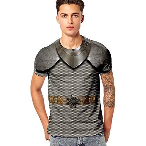 SANFASHION Herren mit Motiv Aufdruck T-Shirt Lustige 3D Ritter Tops Kurzarm Rundhals Tankshirt -