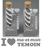 2 Soliflores : I ♥ MON Témoin + I ♥ MA Témoin - Cadeau pour la Témoin de votre Mariage (pour homme et femme)