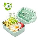 LAKIND Lunch Box, Bento Box Kids, Boite Bento 1400 ML avec 3 Compartiments et Couverts (Green)