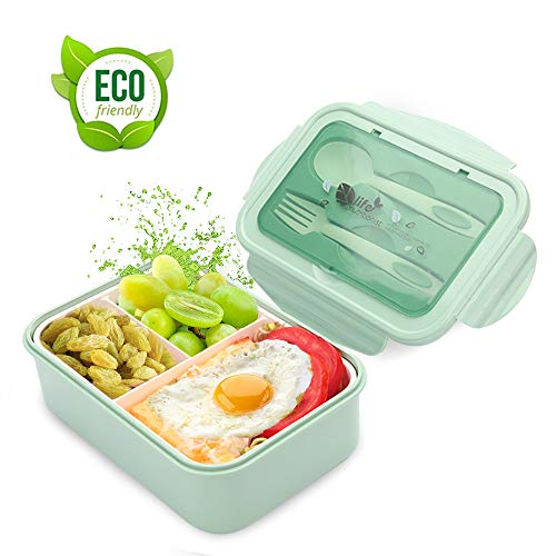 LAKIND Brotdose Lunch-Boxen Kinder, Bento Box Lunchbox mit 3 Fächern und Besteck, Vesperdose Mikrowelle Heizung