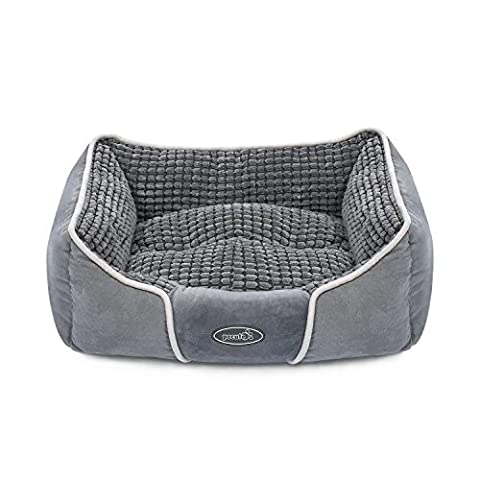 Pecute Deluxe Pet Bed for Cats and Small Medium Dogs Rectangle Cuddler with Soft Detachable Cushion Grey (Small 50*43*18cm)