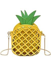 AiSi 3D Mädchen Leder klein Clutch Umhängetaschen Handtasche Party-bags Abendtasche mit Reißverschluss und Zusatzkette, Ananas gelb