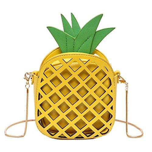 AiSi 3D Mädchen Leder klein Clutch Umhängetaschen Handtasche Party-bags Abendtasche mit Reißverschluss und Zusatzkette, Ananas gelb Gelb