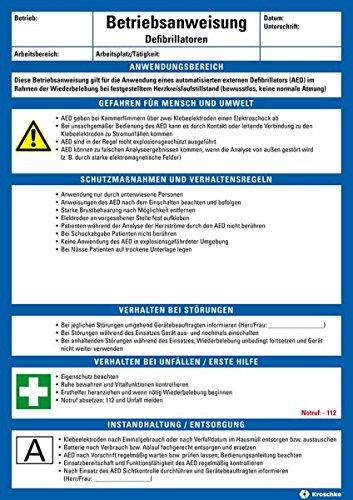 LEMAX® Maschinenbetriebsanweisung Defibrillatoren, Kunststoff, 210x297mm