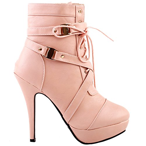 Show Story baby pink Schnalle High Heel Pumps Plateau Stiefel, LF30470BP38, 38EU, Baby Rosa (Baby, Western-stiefel)