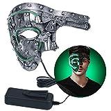 Funpa Máscara de Disfraces Encender Máscara de Cosplay de Media cara Máscara de disfraz de Vintage para Fiesta