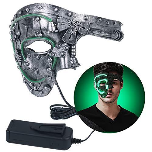 Funpa Steampunk Maske, Halloween Phantom Maske LED Leuchten Maske Halbe Gesichtsmaske Männer Vintage Mechanische Maske Venezianische Maske für Maskerade/Party / Ball Prom Fancy Cosplay Zubehör