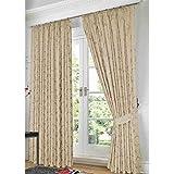 Just Contempo - Cortinas forradas (plisadas, con lazos traseros), diseño de jacquard, poliéster, beige, 2 cortinas 168 x 183 cm (salón)