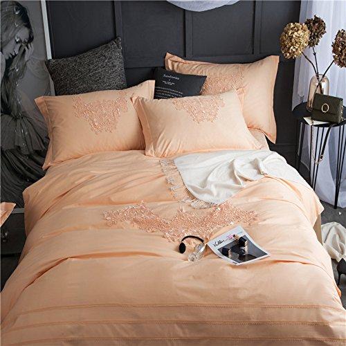 LongYu Steppdecke Baumwolle Einfache Spitze Vierteiliges Set Bequeme weiche Heimtextilien Bettfutter Gewaschen (1 Blatt, 1 Decke, 2 Kissenbezüge) (Color : B, Size : 200*230CM)