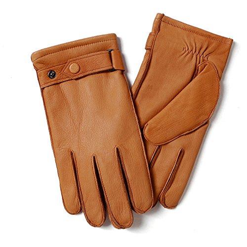 YISEVEN Männer echte Hirschleder Leder extra weichem Micro Pelz gefüttert Winter Handschuhe, Cognac,11