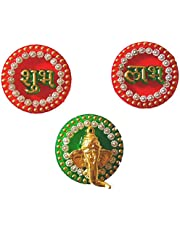 BDS CREATIONS 013 Multicolor Handcrafted Acrylic Stone Studded Small Size 5cm Shubh Labh Ganesh Stickers Foor Door Wall Decoration
