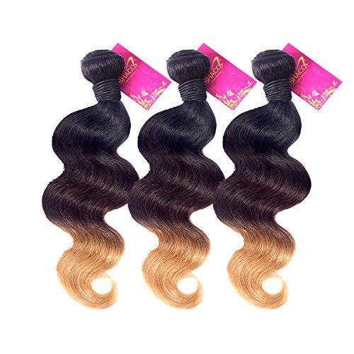 Corps Weave 1b/4/27 Ombre Extension de Cheveux brésiliens Virgin Hair Body Wave Plus épais et tête complète double trame de cheveux Grade 7 A (12 14 40,6 cm, ombre 1b/4/27)