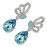 GWG Pendientes para Mujeres, Chapados en Plata de Ley Alas de Mariposa Adornadas con Cristales Blancos y Piedra Colgante de Color Aguamarina Azul Marino en Forma de Gota de Agua