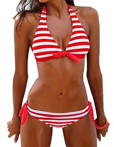 Damen Vintage Casual Streifen Bikini-Sets Push Up Bademode Badeanzug (EU 38 Schild:L, Rote)
