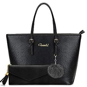 BestoU Damen Handtasche, Shopper Handtasche Schwarz mit Quastengeldbörse und Pelz Kugel Plüsch Schlüsselring, Elegante…