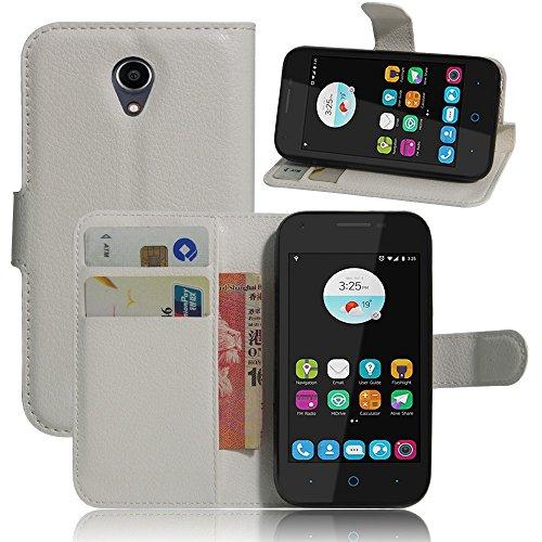 Tasche für ZTE Blade L110 Hülle, Ycloud PU Ledertasche Flip Cover Wallet Case Handyhülle mit Stand Function Credit Card Slots Bookstyle Purse Design weiß